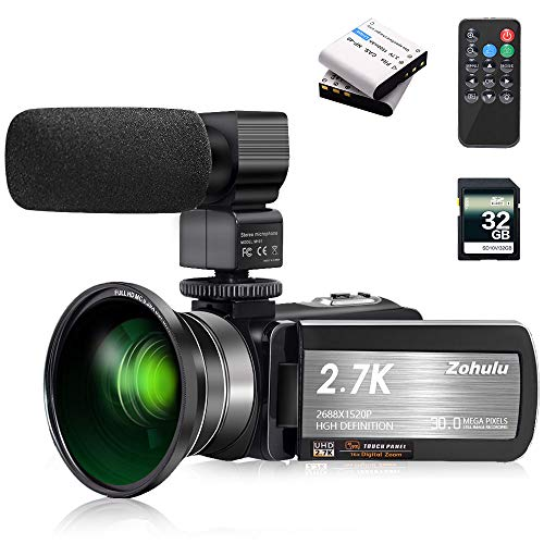 Video Camera 2.7K Camcorder ZOHULU Vlog Camera for YouTube, HD Digital Camera with 16X Digital Zoom and Night Vision, Video Recorder with Microphone, Wide Lens (32GB SD Card, 2 Batteries Included)