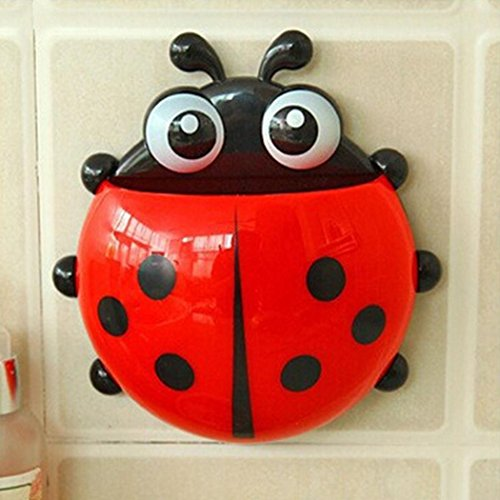 Didade Home Decor Holders & Racks Bathroom Cute Ladybug Design Popular Suction Tooth Brush Toothpaste Holder Bathroom Home Decor (Red)