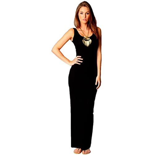 8c0592d9f4d1c Crazy Girls Womens Plain Muscle Racer Back Sleeveless Bodycon Long Maxi  Dress