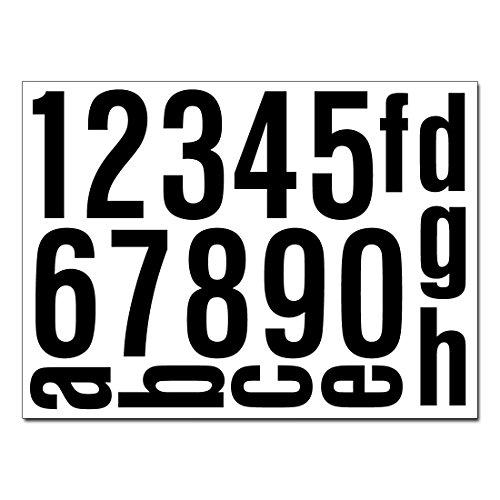 Hausnummern Aufkleber Folien Set Nummern und Buchstaben zum Aufkleben (verschiedene Farben) (reflektierende oder matte Folie) (schwarz-matt)