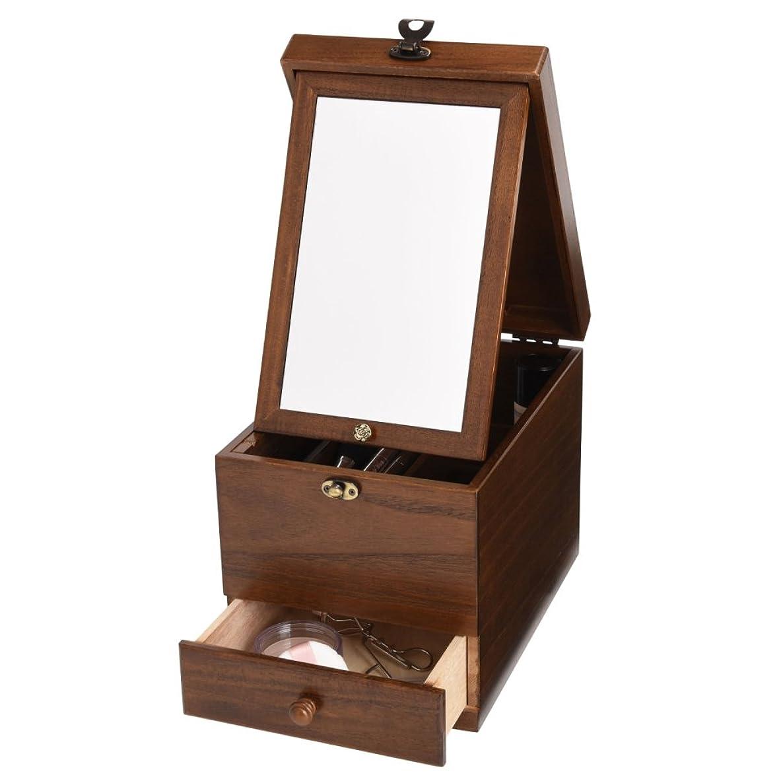 是正ブレーク暗記する木製コスメボックス 引き出し 鏡付き 収納 メイクボックス 化粧ボックス 日本製