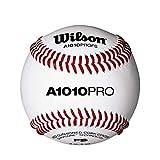 Wilson WTA1010BPROFS Pelota de Béisbol, A1010 Baseball Pro Series Flat Seam, Cubierta de Cuero de Plena Flor, Blanca , 1 unidad