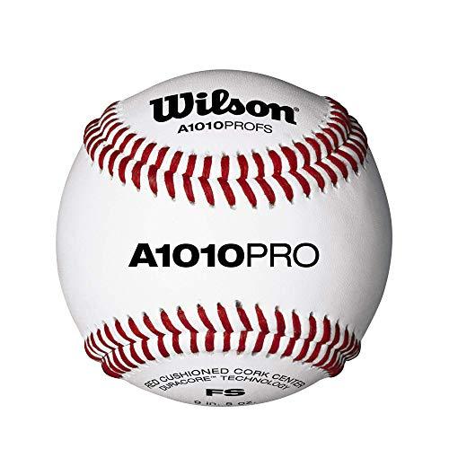 Wilson Baseball, A1010 BASEBALL PRO SERIES FLAT SEAM, Vollnarbenleder, weiß, Flache Nähte, WTA1010BPROFS (1 Stück)