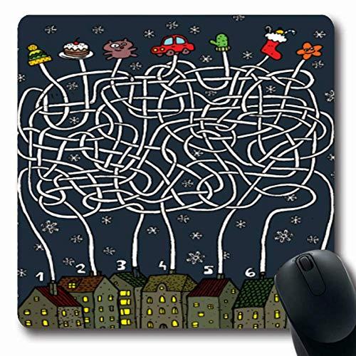 Jamron Mousepad OblongOne Weihnachtskuchen Stadt Freude Schneelabyrinth Pfad Weg Aufgabe Auto Track Cap Jeweils 7 Haus 2 Seine 4 Bildung 3 Rutschfeste Gummimaus Pad Büro Computer Laptop Spiele Matte