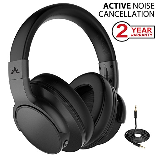 Avantree Active Noise Cancelling Wireless Headphones Airplane Travel Mowing, Bluetooth Wired ANC Sound Cancelling Over Ear Headphones Mic, Low Latency Hi-Fi Headset TV PC Gaming - ANC031