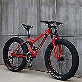 MKWEY Adultos Bicicleta de montaña de 24 Pulgadas, suspensión Delantera Bicicleta de montaña Fat Tire Bike, Marco de Doble suspensión de Terreno de montaña del Tenedor de suspensión para Las mu.