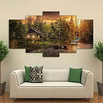 ASFQW Multi Panel Wall Art 5 Paintings Wall Decorations Cabin in The Woods Mountain Creek Lake Pictures 5 Piece Canvas Artwork Modern Giclee Framed Ready to Hang 60  Wx31  H