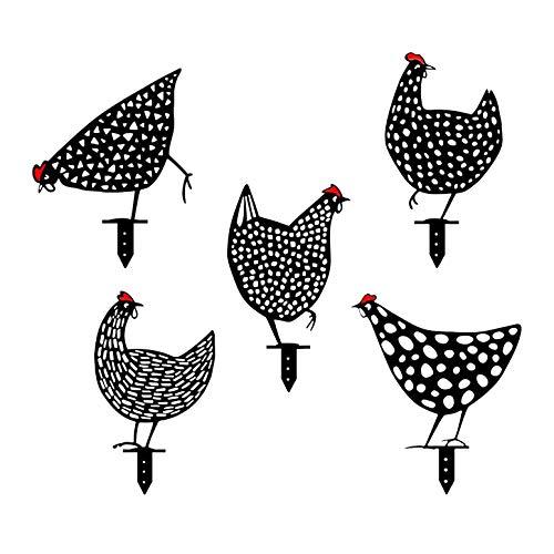 LGYKUMEG Realistische Henne, Hühnergarten, Metall Tierkunst Yard Decor Outdoor Hühner in Form von Gartenkunst, Hahn Metall Tier Silhouette Pieu Hof,5pcs