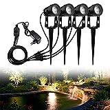 HENGMEI 5W x 4 Stück Gartenbeleuchtung COB LED Strahler mit Erdspieß IP65 Wasserdicht mit EU-Stecker Warmweiß Garten Scheinwerfer Gartenlampe