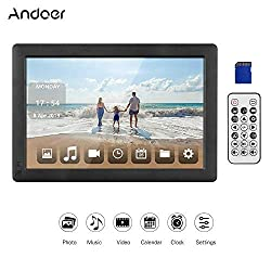 Andoer 10.1 Inch Digital Picture Photo Frame 16:9 IPS Screen 1280X800 HD Resolution with Gravity Sensor Motion Detection Function Include 8GB SD Card Support Video, USB and SD Card Slots