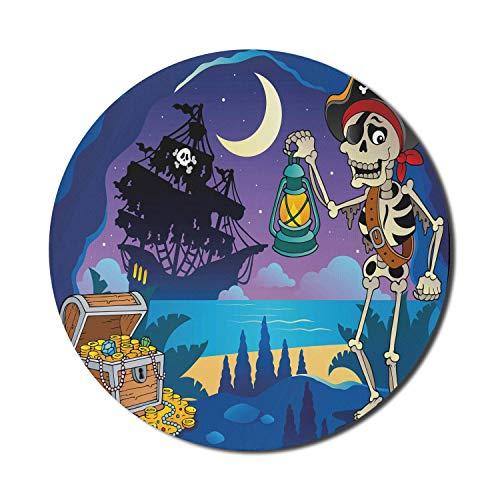 Piraten-Mauspad für Computer, gefundene Schatzkiste in Cave Mystery Hideout Pirate mit Laterne Segelschiff Mond, rundes rutschfestes dickes Gummi Modern Gaming Mousepad, 8 'rund, mehrfarbig