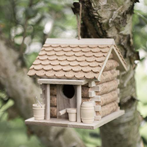 garden mile® Wine Cork and Wooden Hanging Bird House for the Garden | Unique Novelty Bird Nesting Box Garden Decorations | Bird Hotel Cabin for Wild Birds