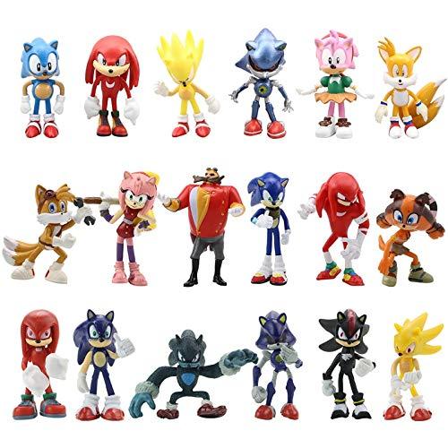 QIANMA soinc Figur Spielzeug 18 Stück / Set 7cm Sonic Figuren Spielzeug PVC Spielzeug Sonic Shadow Tails Charaktere Figur Schlüsselbund Spielzeug Für Kinder Tiere Spielzeug Set