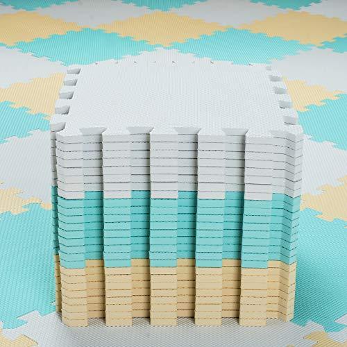Alfombra Puzzle para Niños Bebe Infantil - Suelo de Goma EVA Suave. 25 Piezas (30 * 30 * 1cm), Blanco, Verde, Beige.QQC-AHJb25N