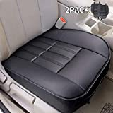 2pcs Leather Car Front Seat Cushion Black Seat Covers Universal Interior Seat Protector Mat Pad Fit Most Cars - Leader Accessories