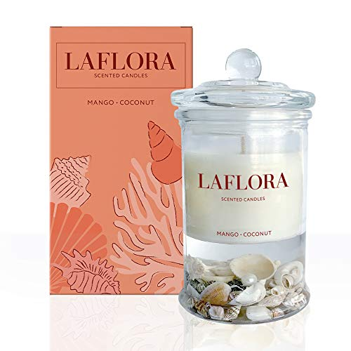 LAFLORA Luxury Scented Candles, XL Size: 24 Oz. Best Gift. Natural Soy Wax, New Smell Mango-Coconut, Lemon-Basil-Citrus, for Home & Meditation, Hand Poured (Mango+Coconut)