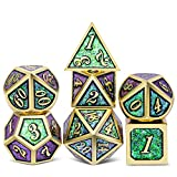 DNDND Metal Game Dice Set, Angle Color Changing DND Metal Dice Set with Case for Dungeons and Dragons D&D Table Games (Gold Number with Green & Purple)