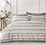 """PHF 100% Cotton Boho Duvet Cover Set - 3 Pieces King Size (106"""" x 92"""") - Yarn Dyed, Jacquard, Modern Bedding with Button Closure - Soft, Comfortable for All Season, Black and Ivory"""
