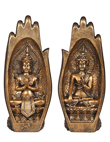 NBHUZEHUA Buddha Sitting in Hand Statue Resin Lao Thai Buddhist Figurines Home Decor Zen Buddah Gold