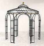 ELEO Milano runder Metallpavillon mit Sonnensegel und Messingkugel, Ø 2,9 m (Oberfläche: anthrazit pulverbeschichtet)