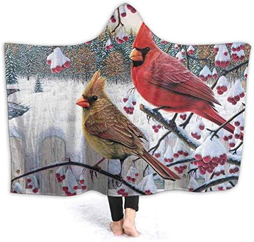 Bernice Winifred Coperta con Cappuccio a Fascia per Uomo Donna Adulti Bambini Carta da Parati Uccello Cardinale Desktop 3D Stampato Sherpa Fleece Coperta da tiro indossabile 150x200cm (59,1x78,7 '')