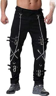 Macondoo Men's Juniors Goth Trousers Punk Straight-Leg Zip Pants