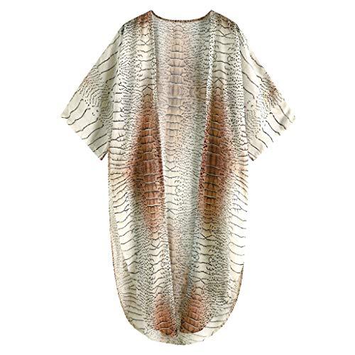 OSELLINE 2021 Nuevo Traje de baño de una Pieza, cárdigan Fluido Bohemio de Piel de Serpiente con Estampado 3D de Bikini para Cubrir el Vestido de Playa de Gasa A
