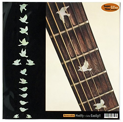 Inlay Sticker Fret Markers for Guitars & Bass - Doves - White Pearl