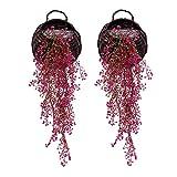 Colgante Artificial Plantas de Vid, Pack de 2 Piezas Artificial Hiedra Falsos Plantas Flores Verdor para jardín decoración de la Pared, Rojo de Rose