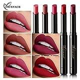 HNLZGL Barra de Labios Mate Set, 6 Colores lápiz de Labios Rojo Mate de Larga duración Labios Desnudos, hidratante bálsamo Impermeable Profesional de Maquillaje de Labios Duradero
