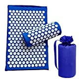 chebao, Estera antideslizante de yoga con correa de estera de yoga, 3 unids/set Lotus acupuntura masaje almohada relajación Yoga Pad (azul real)