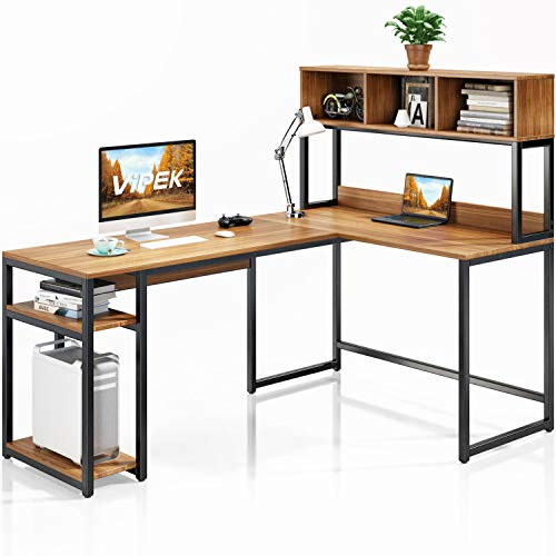 VIPEK L-Shaped Desk with Hutch, 69' Large Computer Desk Gaming Table PC Table Workstation Study Writing Table with Storage Bookshelf, Space Saving Corner Desk for Home Office, Suntalam Walnut