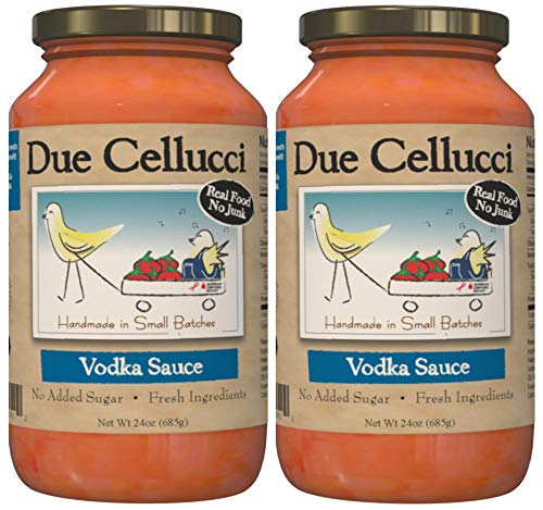Due Cellucci Tomato Sauce   Vodka   No Sugar Added   Fresh Ingredients   Gluten Free   Paleo Friendly   San Marzano Tomatoes   Great on Pasta and More   24oz Glass (2 Jars)
