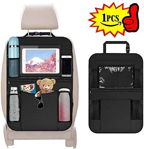 Car Organiser Backseat Organiser Kick Mats with IPad/Tablet Holder Touch Screen Holder Multi Pockets Including Tissue Box for Kids and Toddlers