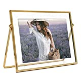 MIMOSA MOMENTS Gold Metal Floating Picture Frame (Gold, 5x7 horizontal)
