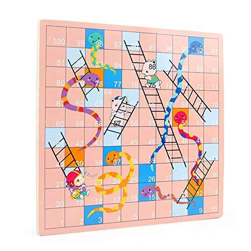 Kohyum 2 en 1 Tablero de ajedrez de Doble Cara para niños, Dados de ajedrez voladores/Serpientes y Juego de Escalera Juego Interactivo Juguetes educativos para niños