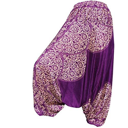 Panasiam - Pantaloni harem Aladino taglia unica M & L  nuovo modello pochi esemplari lavorazione artigianale  Violetto Taglia unica