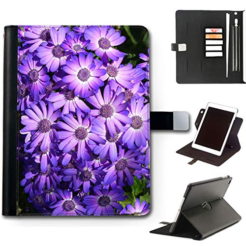 Purple Daisy Flowers iPad Case For Apple iPad Air 4 (2020) 10.9 inch, 360 Swivel Leather Side Flip Wallet Folio Cover with Stand Feature, Card Slots, Paper Slot, Pen Holder