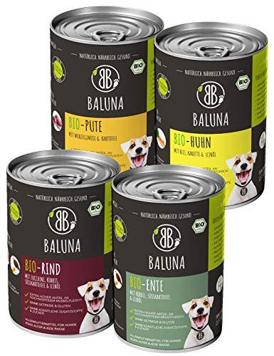 Baluna Bio Hundefutter | Von Bio-Höfen aus der Region | Hergestellt in DE | Hoher Fleischanteil (Probierpaket, 4x400g)