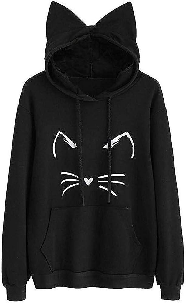 Cat Ear Hoodies for Women,Teen Girls Long Sleeve Cute Cat Print Sweatshirts Casual Hooded Pullover Tops by Chaofanjiancai