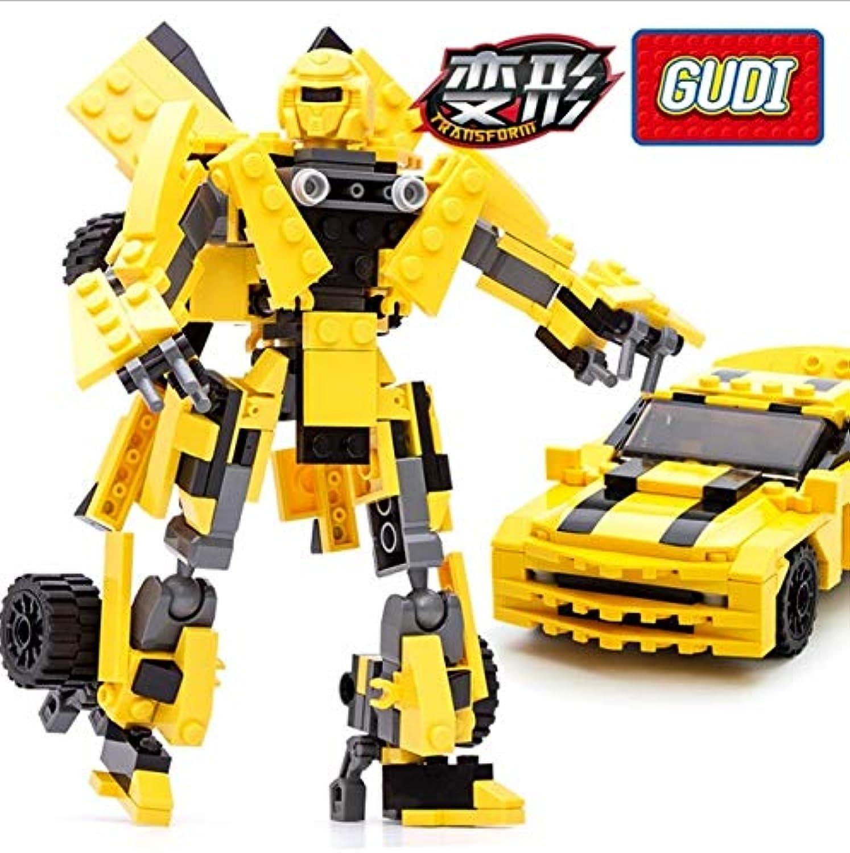 Generic 238Ps GUDI Robot Bricks Transformation Robot Yellow Car Bricks Building Block Cartoon Model Educational Kids Toys Boys Gift 8711