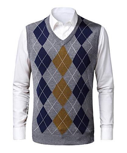 KTWOLEN Chaleco Suéter para Hombre Suéter sin Mangas con Cuello en V Caliente Jersey Invierno de Chaqueta de Punto de Otoño Cárdigan (Gris, XL)