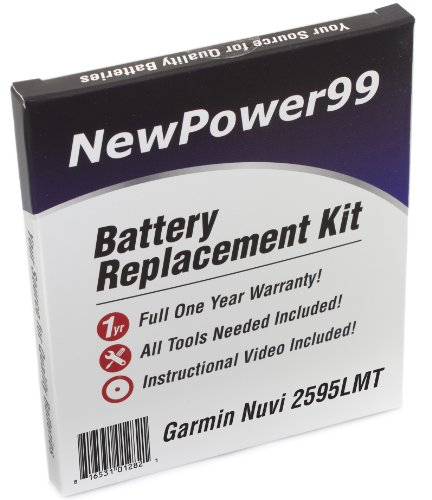 Battery Kit for Garmin Nuvi 2595LMT with Video Instructions, Tools, and Extended Life Battery from NewPower99