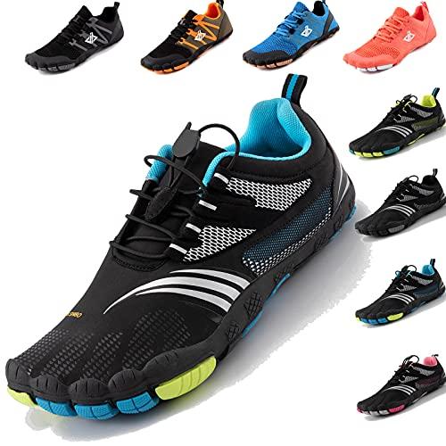 JACKSHIBO Barfussschuhe Herren Barfußschuhe Damen Minimalistische Traillaufschuhe Leicht rutschfest Laufschuhe Zehenschuhe Atmungsaktiv Fitnessschuhe Indoor & Outdoor (Schwarz Blau,43EU)
