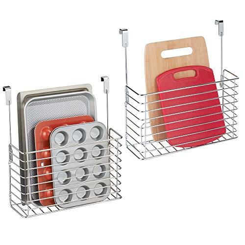 mDesign petite étagère de cuisine – étagère à suspendre – accessoire de rangement pour la cuisine – métal chromé - Paquet de 2
