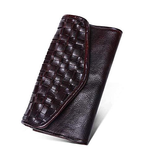 ZGRHZY Portemonnee Portemonnee Mode Breien Mannen Bank Koppeling Handgemaakte Casual Mode Zakelijke Geld Tas Chocolade Kleur