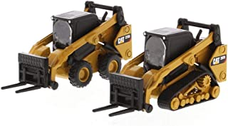 Diecast Masters 2019 Caterpillar Skid Steer Loader & Compact Track Loader with Accessories, Yellow 85609 - 1/64 Scale Diecast Model Toy Car