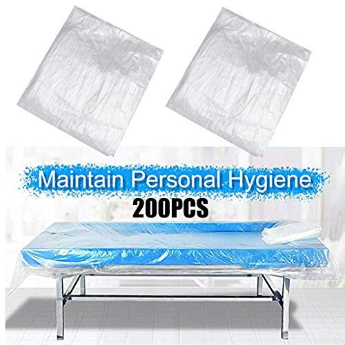 200Pcs Disposable Couch Cover,Plastic Massage Table Sheet Waterproof Disposable Bed Table Cover Sheets for Massage Tables Bed Beauty Treatment Waxing Protection, 35x71inch
