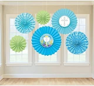 Amscan Communion Paper Fans Decorations Blue [並行輸入品]