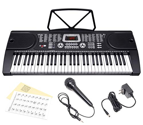 JUAREZ Octavé JRK661 61-Key Electronic Keyboard Piano with LED Display   Adapter   Key Note Stickers   Mic  Music Sheet Stand   255 Rhythms   255 Timbres   24 Demos   8 Percussions